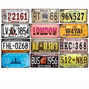 Kit 12 Placas Decorativa Metal Carro Alto Relevo Vintage K2