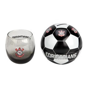c13fe80a3f Copo De Vidro + Cofre Bola Do Corinthians 350 Ml Timão