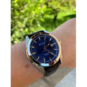 Bulova Precisionist Pulseira Couro Mostrador Azul