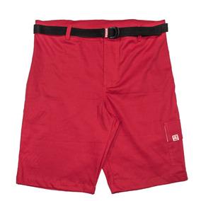 Bermuda Masculina Sarja Vermelha Com Bolso Cargo E Cinto