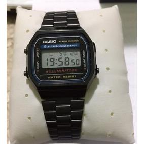 e7f1f0d9010 Relógio Casio Retro A168 Preto Retro Todo Em Aço Visor Pr - Relógios ...