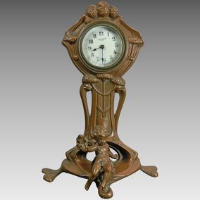 Antiguo Reloj Mesa Art Nouveau Bronce Patinado Francia Usa