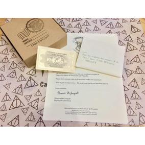 Carta Hogwarts Harry Potter Con Boleto Dorado Plataforma 9 3