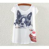 Bulldog Francês E Cupcake Blusinha Camiseta Feminina T Shirt 6640e3eaf6f26