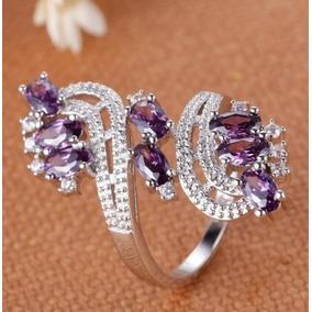 Hermoso Anillo Chapa Oro 18kt Y Zirconias Purpura Blanco #9