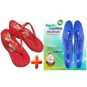 Sandália Chinelo Magnético Vermelha + Palmilha Magnética