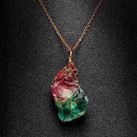Collar Piedra Cristal Arco Iris Chakra Hombre Mujer Moda