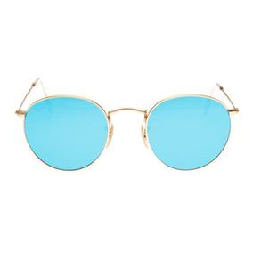 Ray Ban Round Rb 3447 Original Dourado Com Azul Tamanho G 53 d70ae354eb