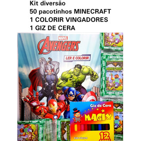 Kit 200 Cartinhas Mine Craft (50pcte) Colorir Vingadores Giz