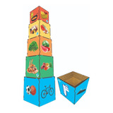 Cubo De Encaixe Piramide Alimentar De Madeira Simque