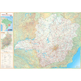 Mapa Rodoviário Minas Gerais Hd 65x100cm Para Decorar Casa