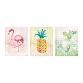 Trio De Quadros Flamingo Cacto Abacaxi 3pçs