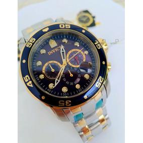 Relógio Invicta Pro Diver 0077 Original Prata Com Dourado