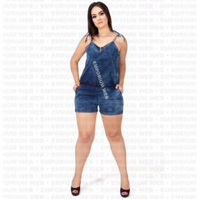Macaquinho Jeans Plus Size 46 48 50 G1 G2 G3 Mulher Sexy