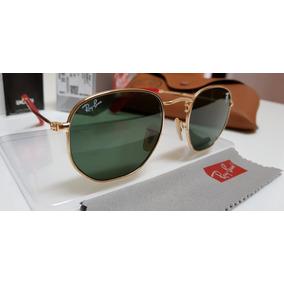 b262a602ccb37 Óculos Ray Ban Rb3548 Hexagonal Dourado Verdes G15 Original - Óculos ...