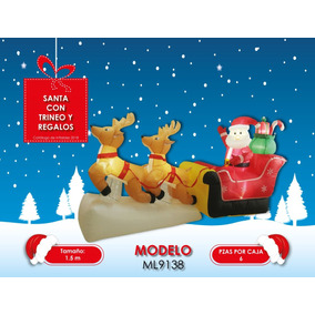 Ml9138 Inflable Santa Con Trineo Y Regalos