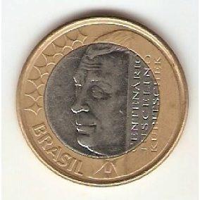 Moeda 1 Real 2002 Centenário Juscelino Kubitschek