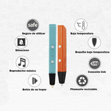 Lapicera 3d Lapiz Impresora + 10 Rollos Filamento Colores
