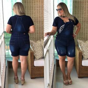 Jardineira Macacão Shorts Jeans C/ Lycra Plus Size Até O 56
