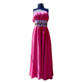 Vestido Largo Usado Marca Corinthya Talla Grande De Seda
