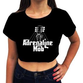 Blusa Cropped Feminina Adrenaline Mob Banda Heavy Metal 876dc46974f