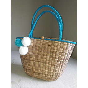Bolsa De Praia Palha Chique - Bolsa de Palha Femininas Azul no ... de52b18213b