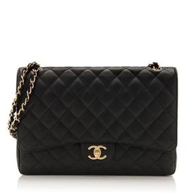 Bolsa Chanel Classic Flap Maxi Couro Caviar Com Caixa