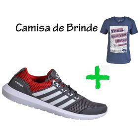 Tênis Esportivo Masculino Super Leve + Brinde Camisa Algodão