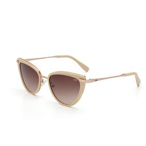 a68d6a51d3102 Óculos De Sol Feminino Bege Com Dourado Lente Degradê Ref 19 ...