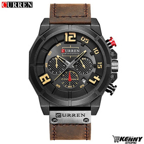 Relógio Curren 8287 Pulseira Em Couro Totalmente Funcional