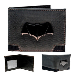 Batman Cartera Envio Gratis Piel Pu Billetera Dc Comics Gris