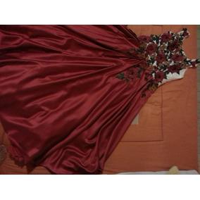 Vestido Xv Años Color Beige Con Falda Roja Y Flores Bordadas