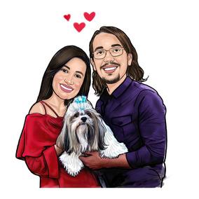Caricatura Digital Casal E Seu Cachorro Lindo Desenho Compre