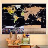Mapamundi Para Raspar Scratch Mapa 82*59cm Banderas Poster