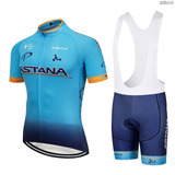 Conjunto Astana Bretelle Uniforme Bike Ciclismo Speed Mtb