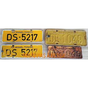 Coleção Lote Placa Antiga Amarela 2 Letras Carro Antigo Par