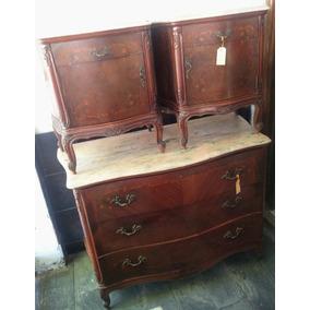 Mueble Antiguo Luis Xv - Cómoda Secreter Y Mesita Luz- Rgbiz
