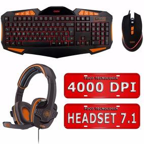 Kit Teclado Led Mouse Gamer 4000 Dpi Headset Gamer 7.1 Oex