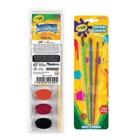 Kit Paquete Acuarelas 8 Colores + 4 Pinceles Crayola