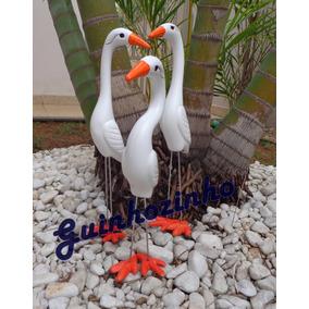 Trio De Garças De Cerâmica Para Decorar Jardim