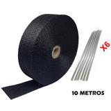 Manta Térmica Termotape Preta P/ Escapamento 10 Metros 6 Zip