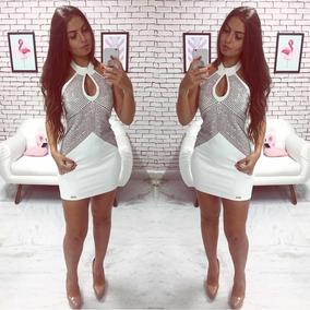 Vestido Limone Reveillon Branco Neoprene Com Strass Curto