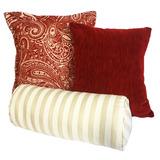 Set De 3 Cojines Decorativos Cloudy - Rojo Y Blanco