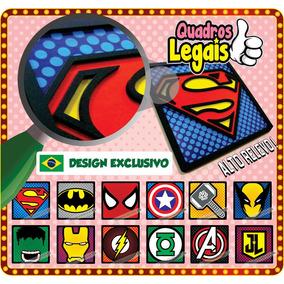 3 Placas Super Heroi Quadro Em Relevo À Escolher