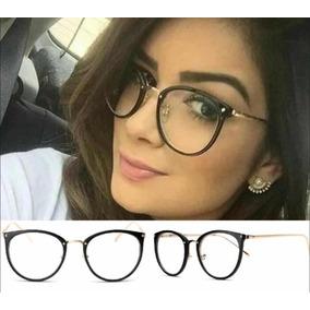 Armação Óculos P/grau Femenino Retro Metal Geek Novinho Cor