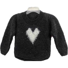 Sweater De Niña Tejido 100% A Mano Con Detalle En Corazón b7a79bf909eb