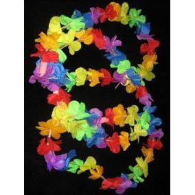 12 Collar Hawaiano Plastico Multicolor Fiesta Tematica