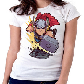 Blusa Feminina Baby Look Mini Thor As Marvel Geek Vingadores