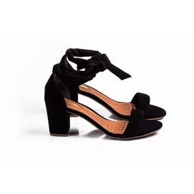 Sandália De Amarração Preta