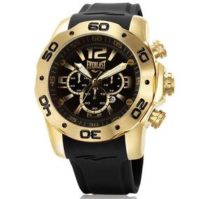 Relógio Everlast Masculino E547 Big Case Cronógrafo Dourado